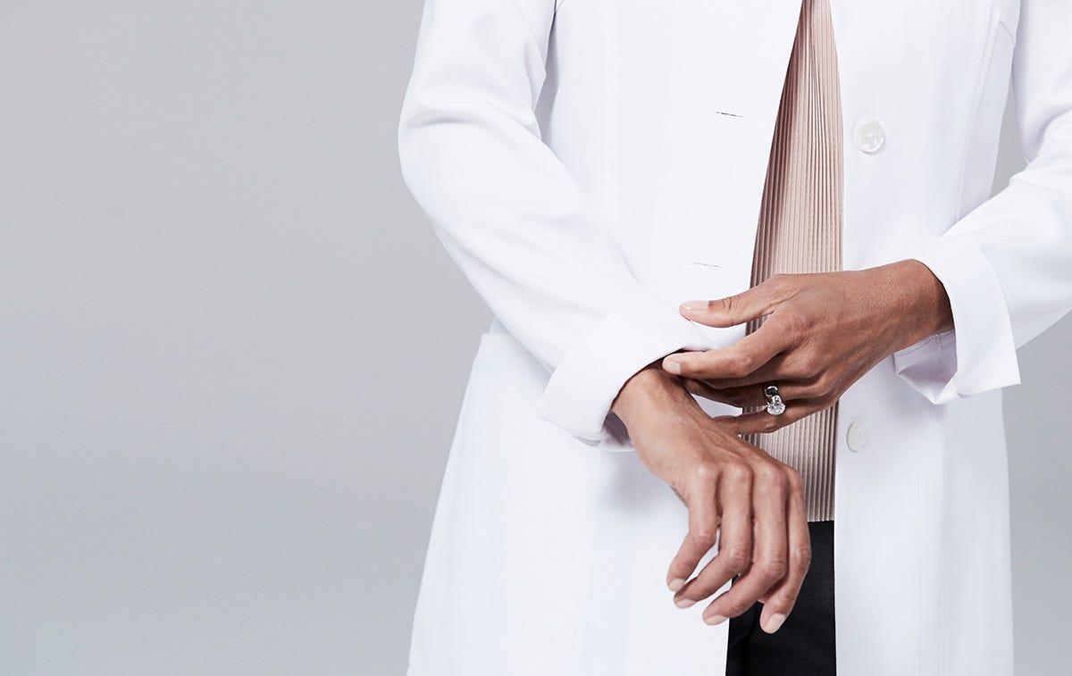 Rosalyn women's lab coat side