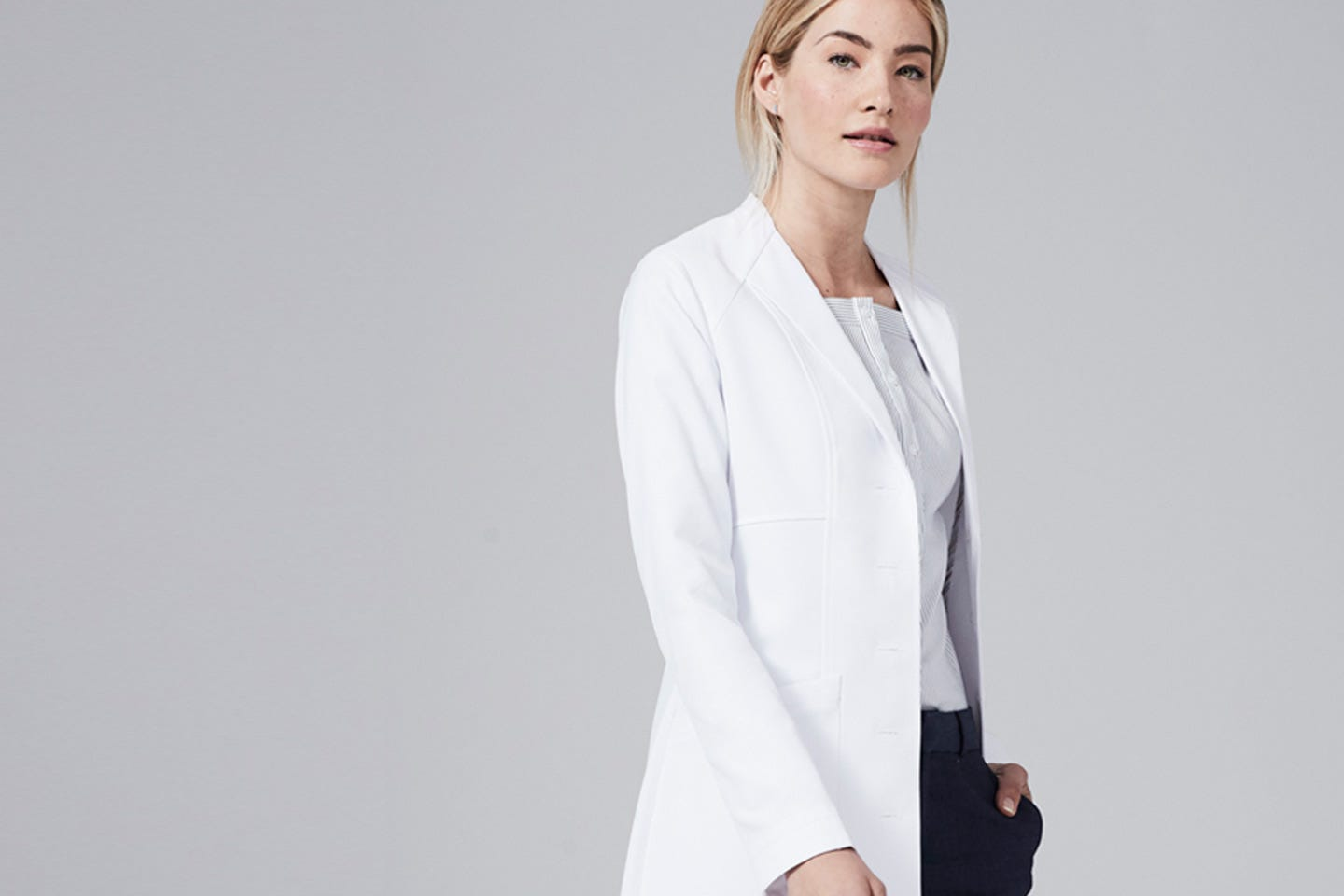 Vera women's lab coat side