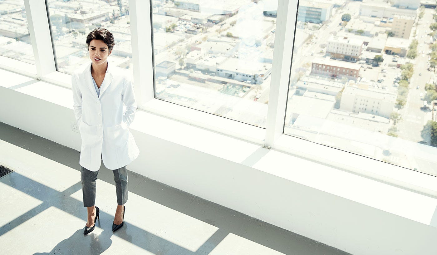 petite short women's lab coat