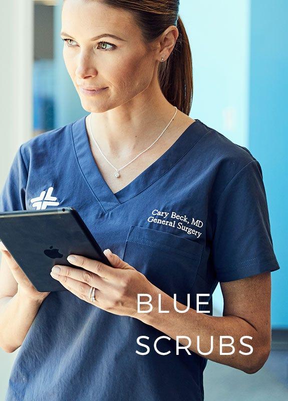 woman in blue scrubs