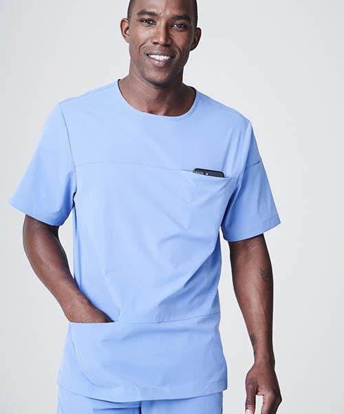 mens scoop neck scrub top