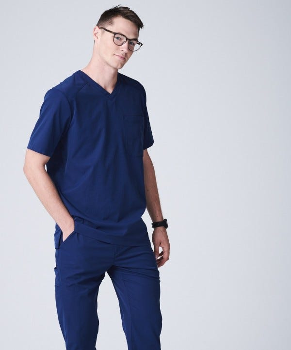 mens nursing scrub vneck top