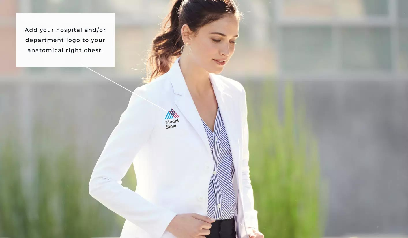 lab coat with Mt Sinai hospital logo