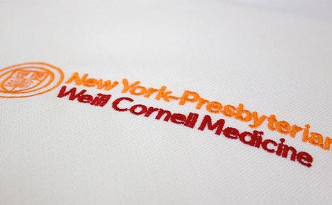 Weill Cornell logo sewn out