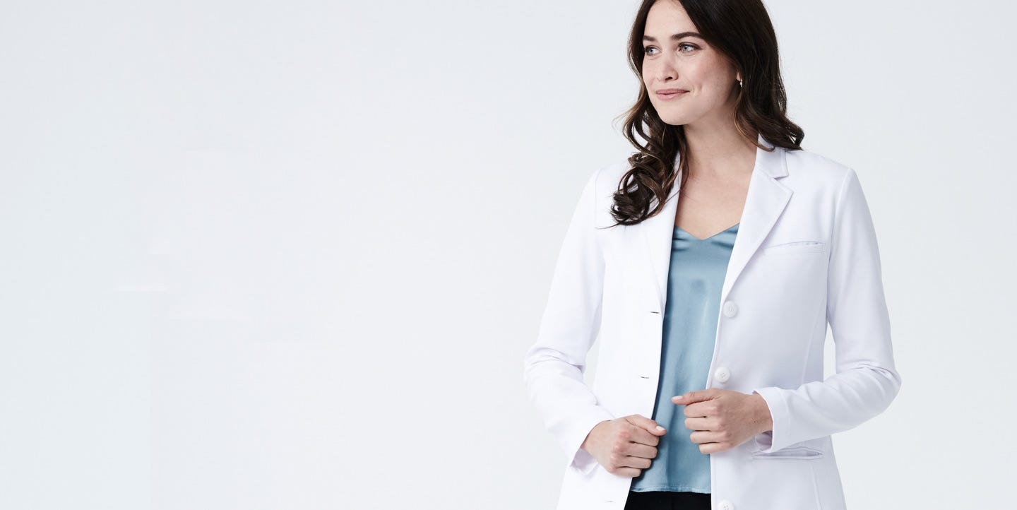 Rebecca women's lab coat back