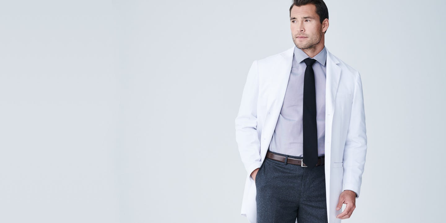 Williams men's lab coat feature
