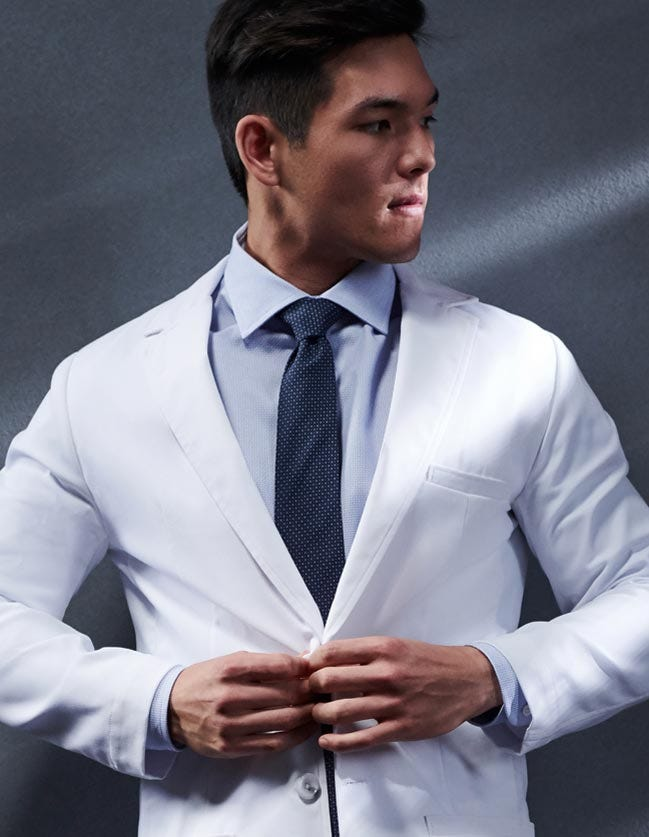 lab coats for men by Medelita