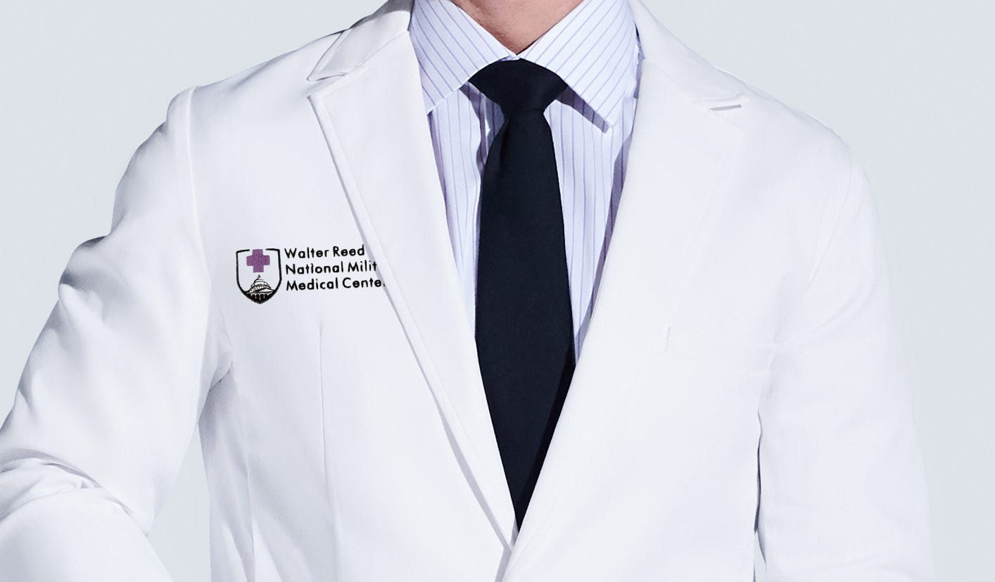 lab coat with walter reed hospital logo