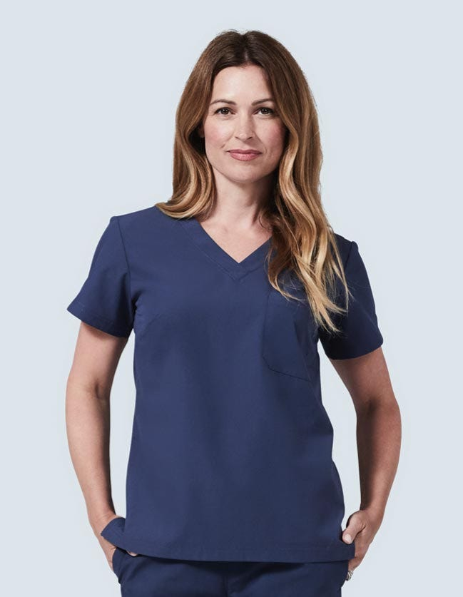 Women's classic fit navy scrub top
