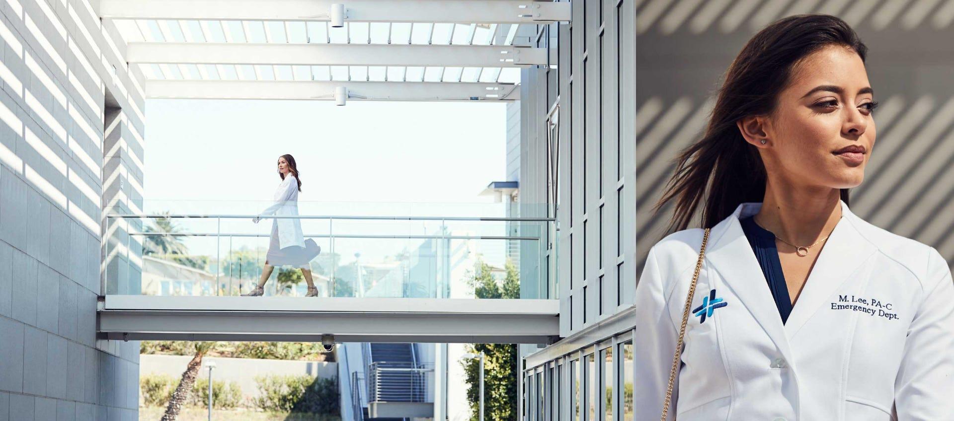 women walking in lab coat