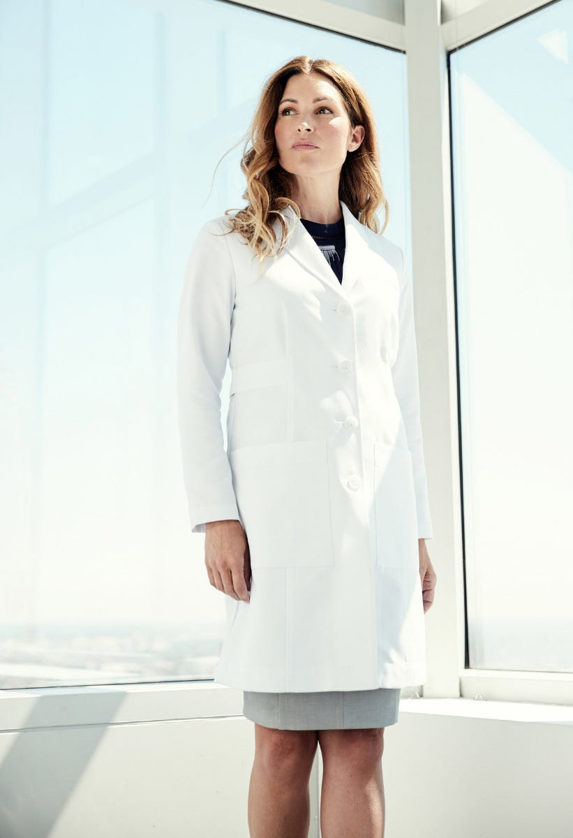 woman wearing lab coat
