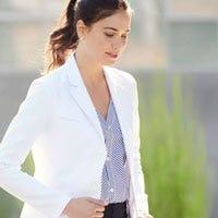 woman wearing lab coat